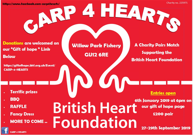 Image for event in memory of CARP 4 HEARTS  BHF carp match fundraiser
